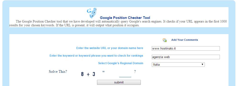 Google rank checker per verificare l'indicizzazione del tuo sito