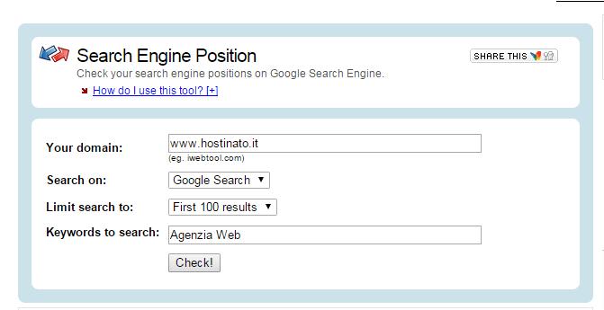 Verifica indicizzazione sito Search Engine Position Tool